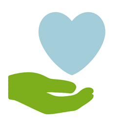 Green Hand Holding Blue Heart - Homeschool Support Programs | Oak Meadow Bookstore