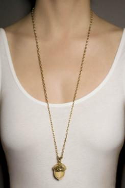 Brass Acorn Charm On Necklace | Oak Meadow Bookstore