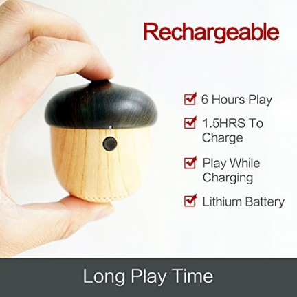 Acorn Bluetooth Speaker: Rechargeable, 6 Hours Play, 1.5 Hours To Charge, Play While Charging, Lithium Battery. Long Pla