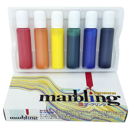 Innovation Marbling Kit With 6 Colors (Red, Orange, Yellow Green, Blue, Purple)