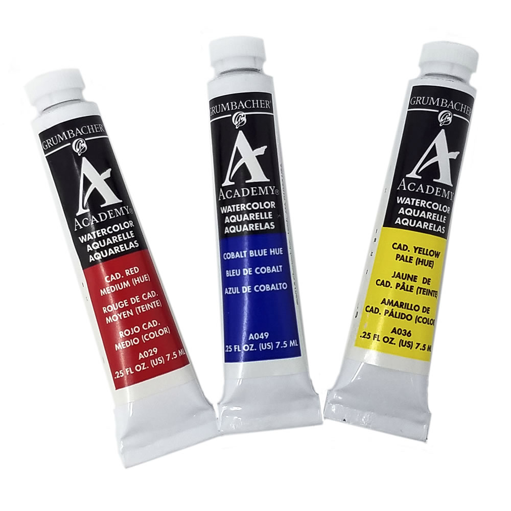 watercolor paint set red yellow and blue