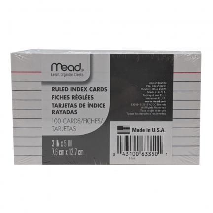 Ruled Index Cards (3x5) - Crafts & Supplies   Oak Meadow Bookstore